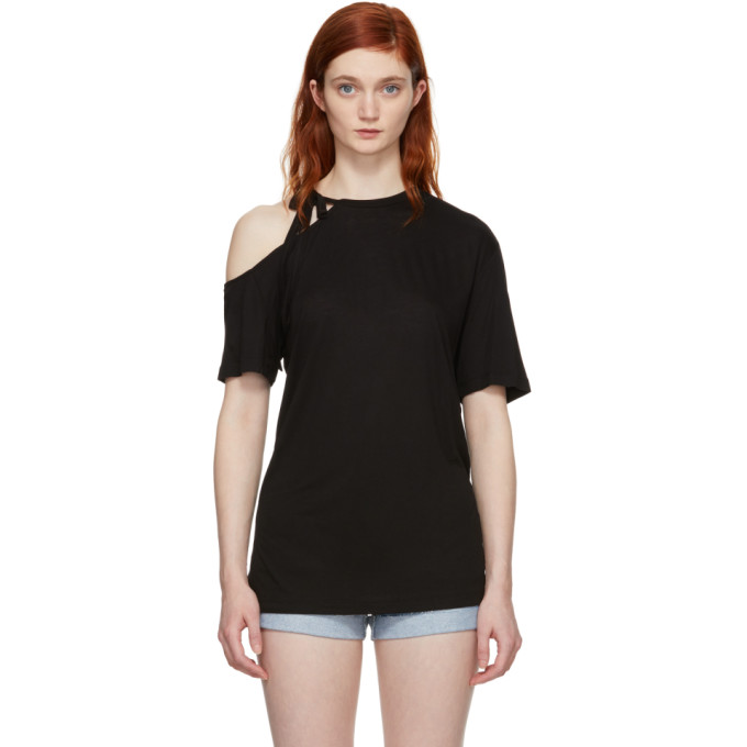 Image of SJYP Black Side Strap T-Shirt