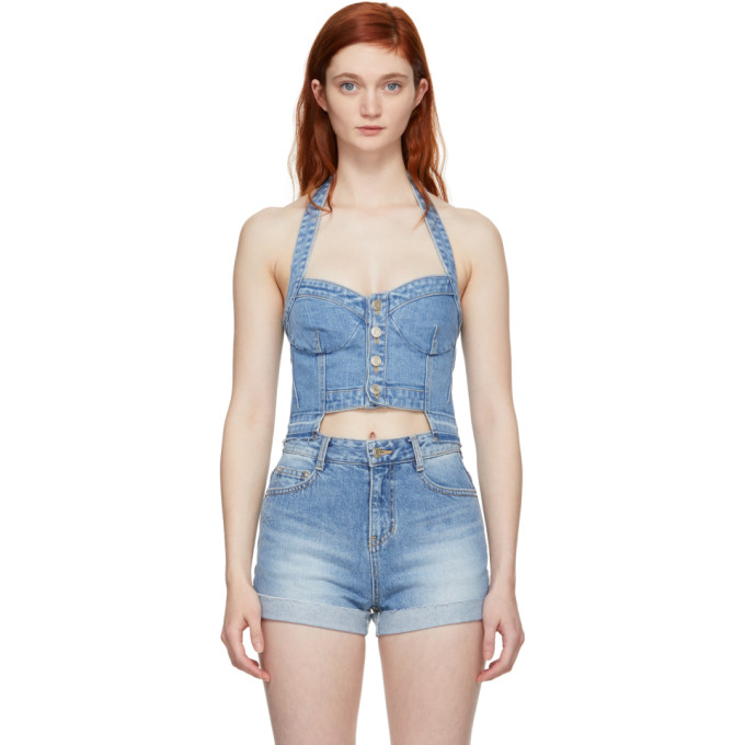 Image of SJYP Blue Denim Button Front Bustier