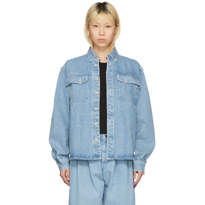 Image of Gosha Rubchinskiy Blue Bleached Denim Shirt