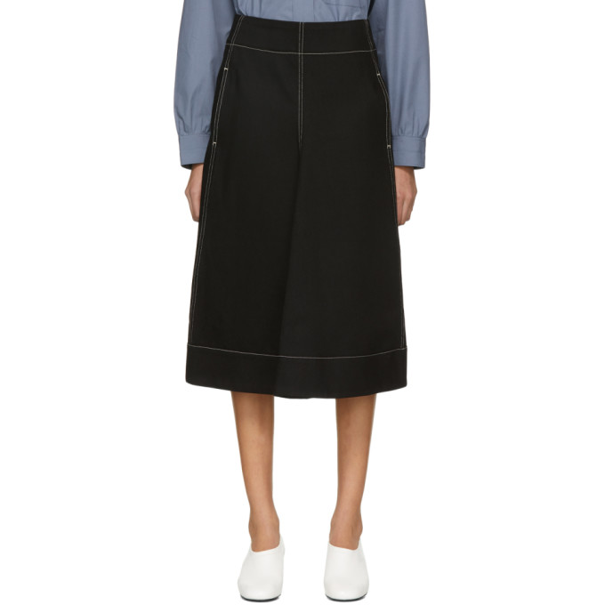 Image of Lemaire Black Flared Skirt