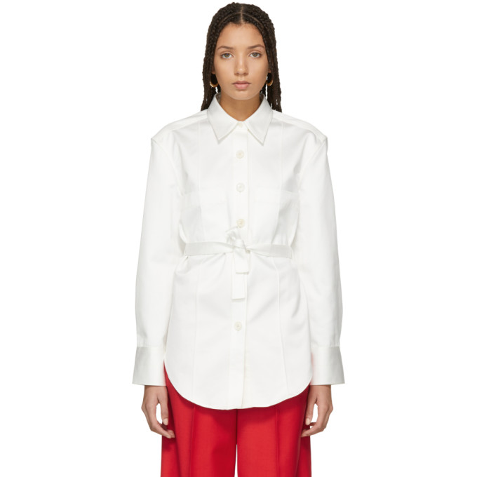 Lemaire White Tie Back Overshirt