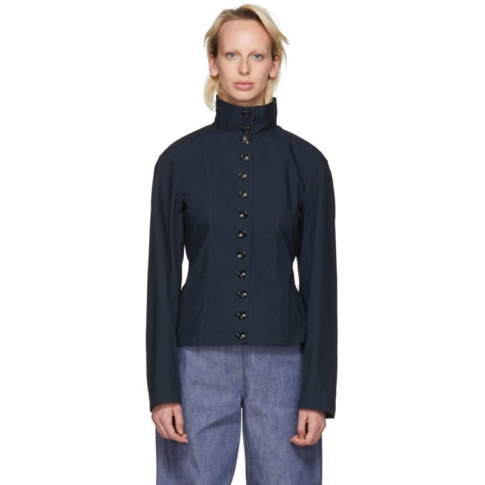 Lemaire Blue High Collar Shirt