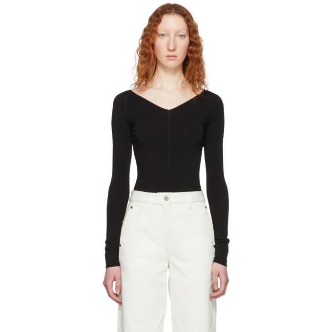 Image of Lemaire Black Leotard V-Neck Sweater