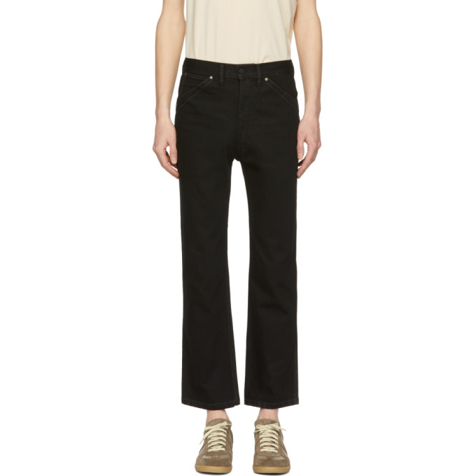 Image of Lemaire Black Five-Pocket Straight-Leg Jeans
