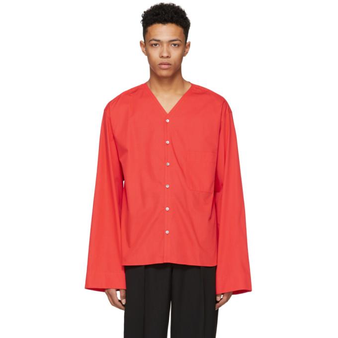 Lemaire Chemise à col en V rouge