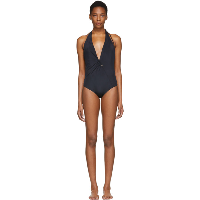 Image of Versace Underwear Black Deep V-Neck One-Piece Swimsuit