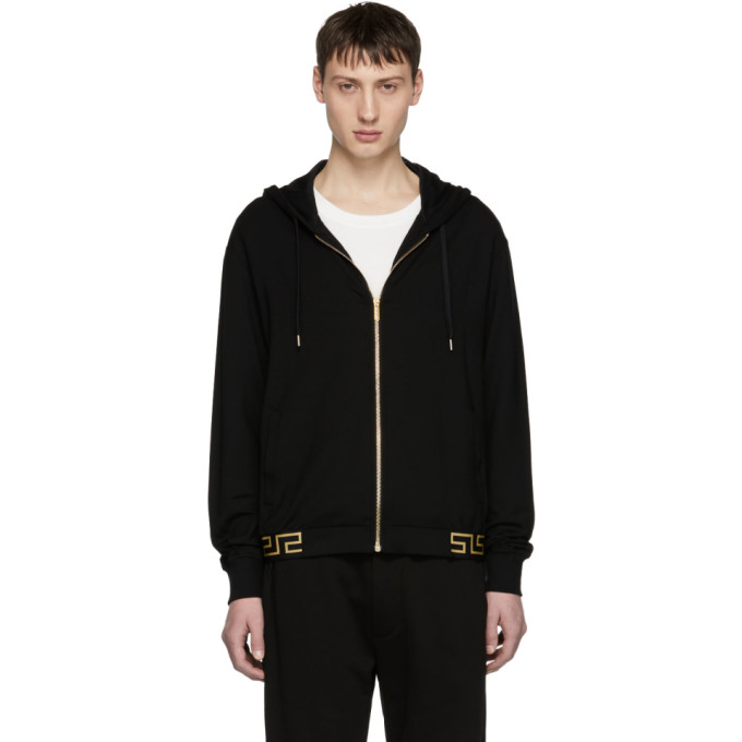 Image of Versace Underwear Black Greek Key Hem Zip Hoodie