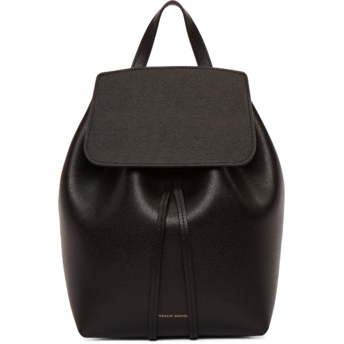 Mansur Gavriel Black Mini Saffiano Leather Backpack