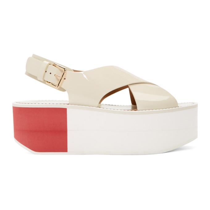 Image of Flamingos Off-White Patent Virginia Platform Sandals