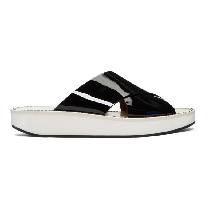 Image of Flamingos Black Patent Mama Crossover Low Sandals
