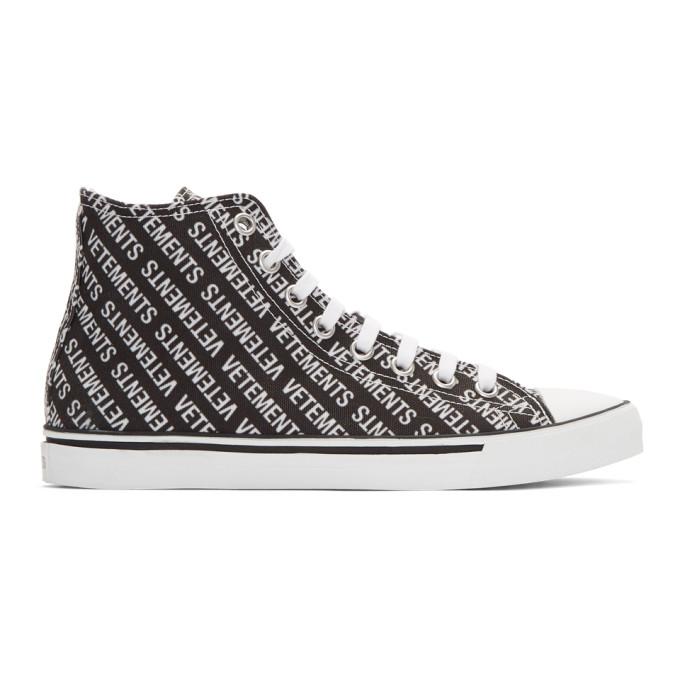 Vetements Black & White Printed Logo High-Top Sneakers