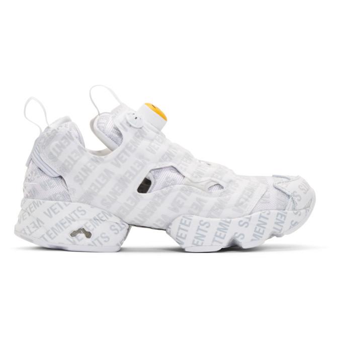 Vetements White Reebok Classics Edition Logo Emoji Instapump Fury Sneakers
