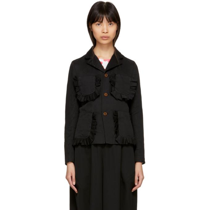 Image of Comme des Garçons Girl Black Ruffle Pocket Crinkle Blazer Jacket