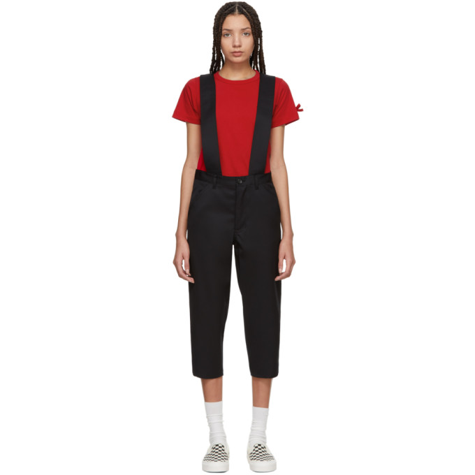 Comme des Garcons Girl Black Wool Suspender Trousers