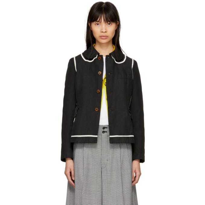 Image of Comme des Garçons Comme des Garçons Black Trompe l'Oeil Round Collar Jacket
