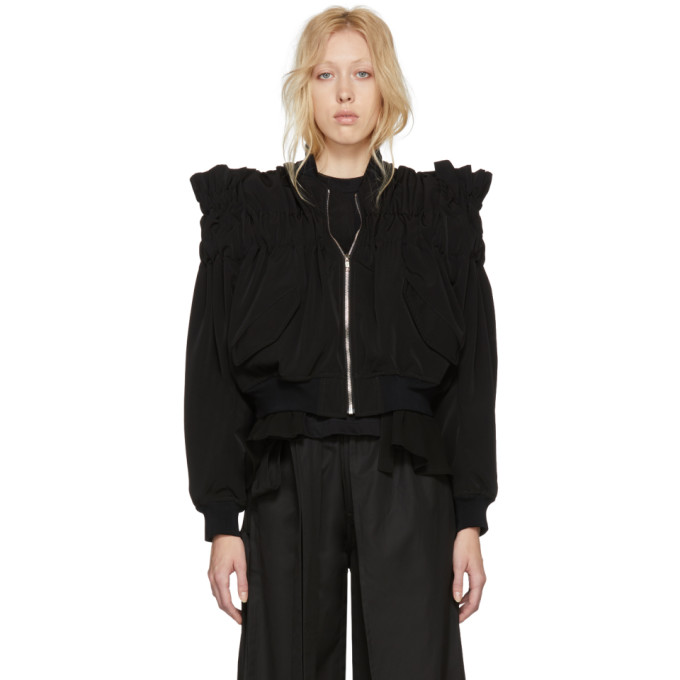 Image of Noir Kei Ninomiya Black Gathered Back Tie Bomber Jacket