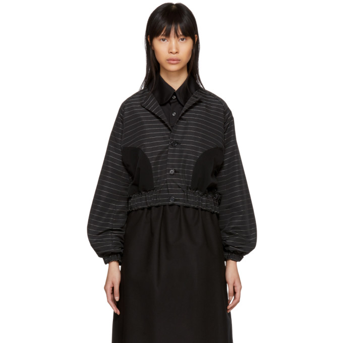 Image of Noir Kei Ninomiya Black Pinstriped Button-Up Jacket