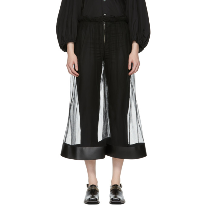 Image of Noir Kei Ninomiya Black Tulle Wide Trousers