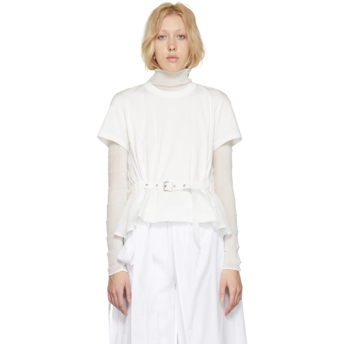 Image of Noir Kei Ninomiya White Panelled Belt T-Shirt