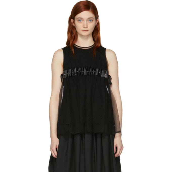 Image of Noir Kei Ninomiya Black Tulle Tank Top