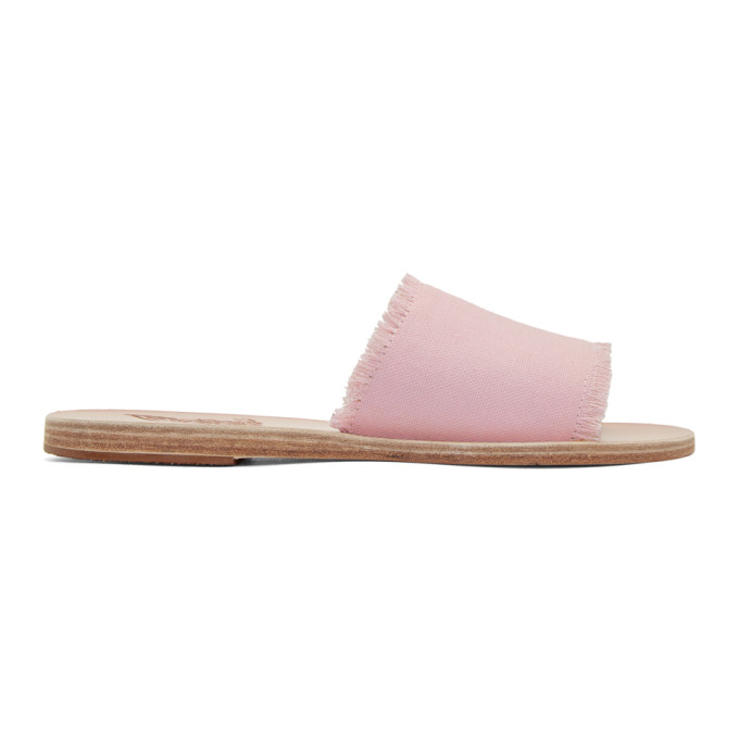 Image of Ancient Greek Sandals Pink Denim Taygete Sandals