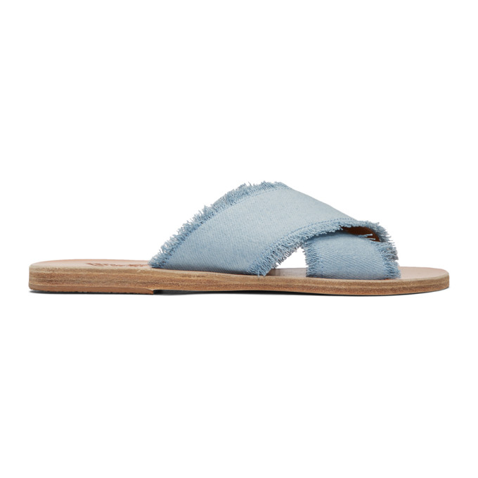 Image of Ancient Greek Sandals Blue Denim Thais Sandals