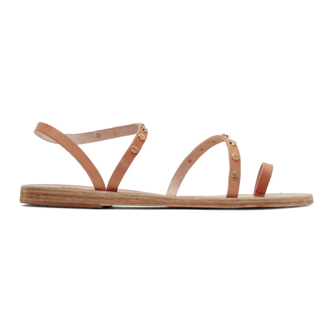 Image of Ancient Greek Sandals Tan Apli Eleftheria Nails Sandals