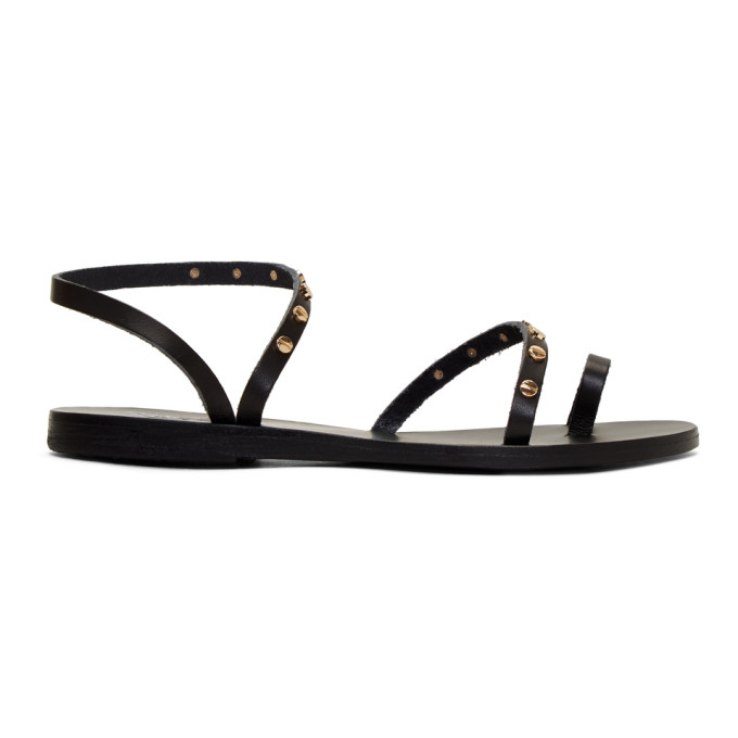 Image of Ancient Greek Sandals Black Apli Eleftheria Nails Sandals