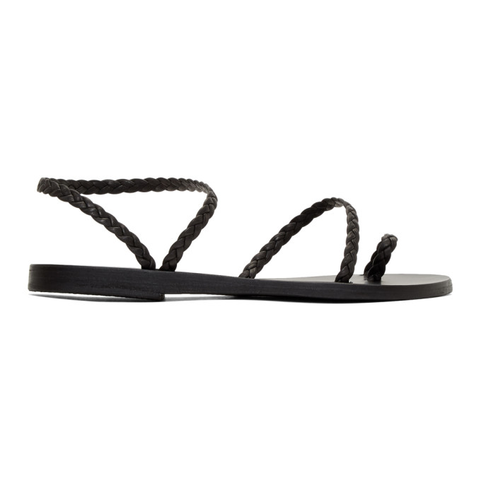 Image of Ancient Greek Sandals Black Braided Leather Eleftheria Sandals
