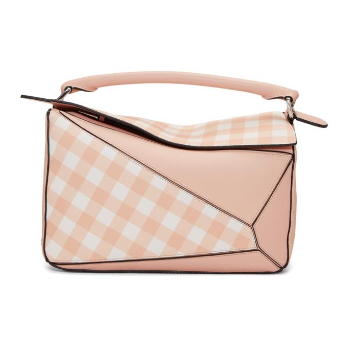 Loewe Pink Gingham Puzzle Bag