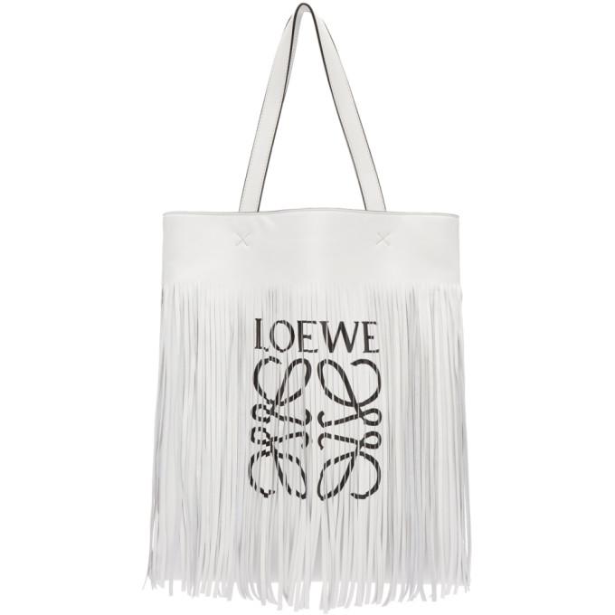 Loewe White Vertical Fringe Tote