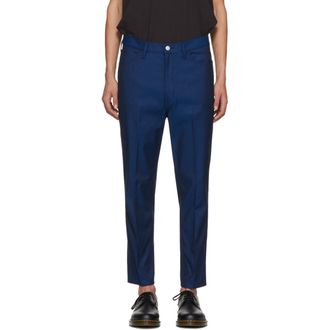 Image of Toga Virilis Blue Stretch Cotton Trousers