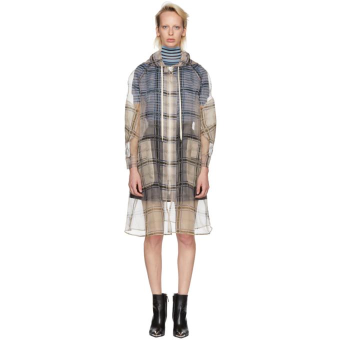 Fendi Multicolor Check Organza Hooded Coat