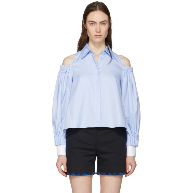 Fendi Blue Open Shoulder Palm Shirt