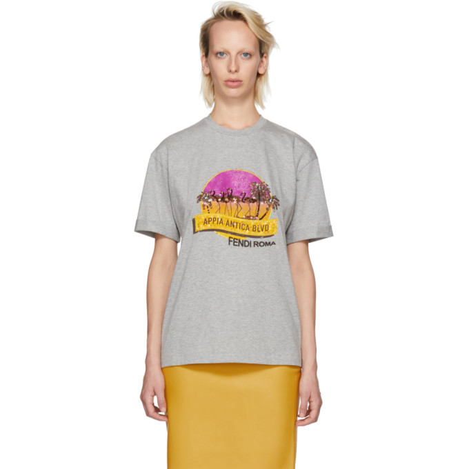 Fendi Grey Sequinned Appia Antica Blvd T-Shirt