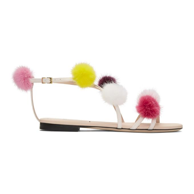 ab28dfcf Fendi Pink Strapped Fur Pom Pom Sandals