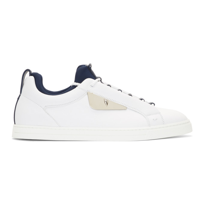 Fendi White Leather 'Bag Bugs' Sneakers