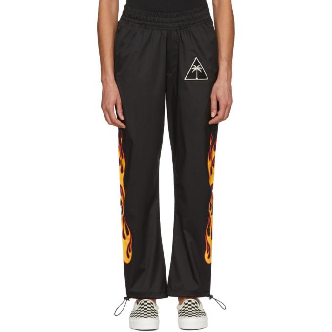 Palm Angels Pantalon de survêtement noir Palms & Flames