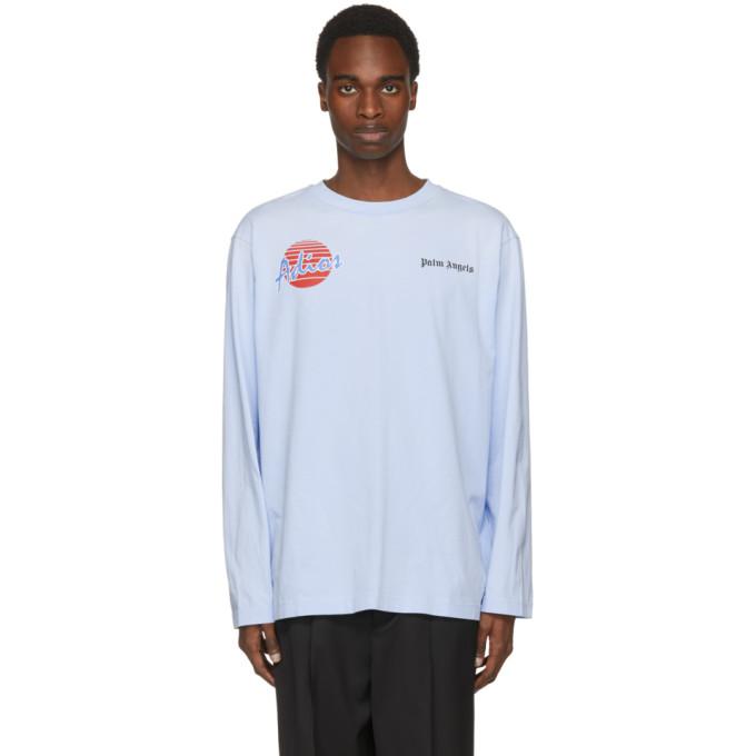 Palm Angels Blue Long Sleeve Adios T-Shirt