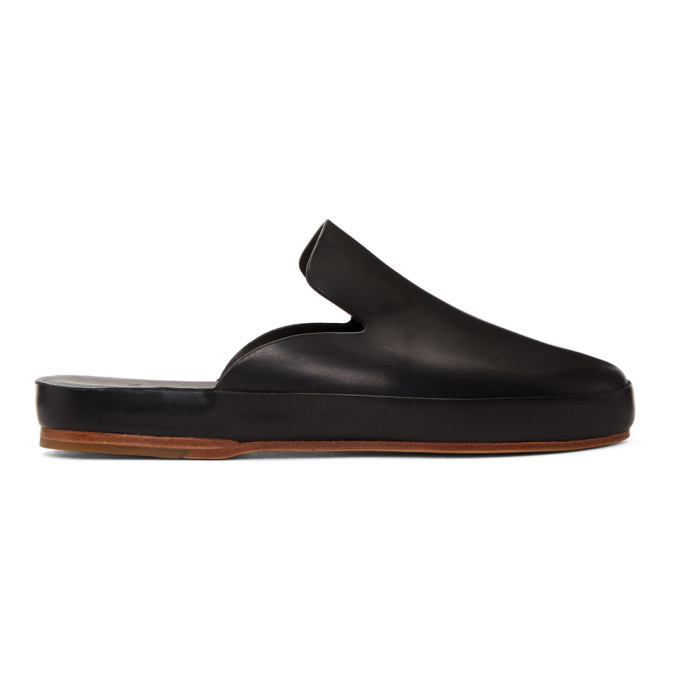 Image of Feit Black Hand Sewn Slide Loafers