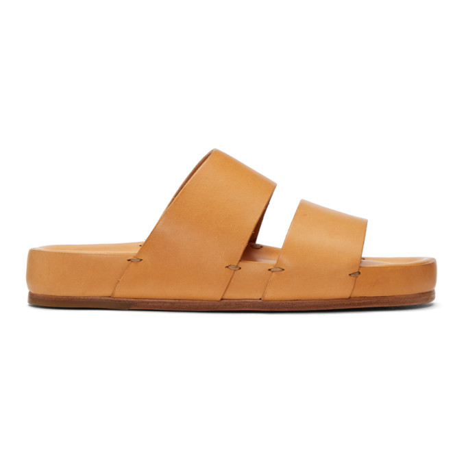 Image of Feit Tan Two-Strap Sandals