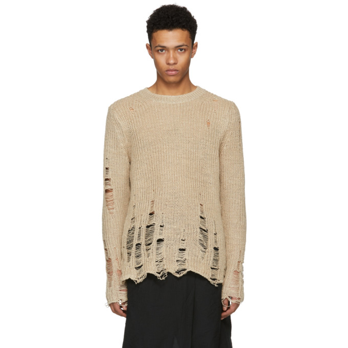 Image of Song for the Mute Beige Oversized Distressed Sweater