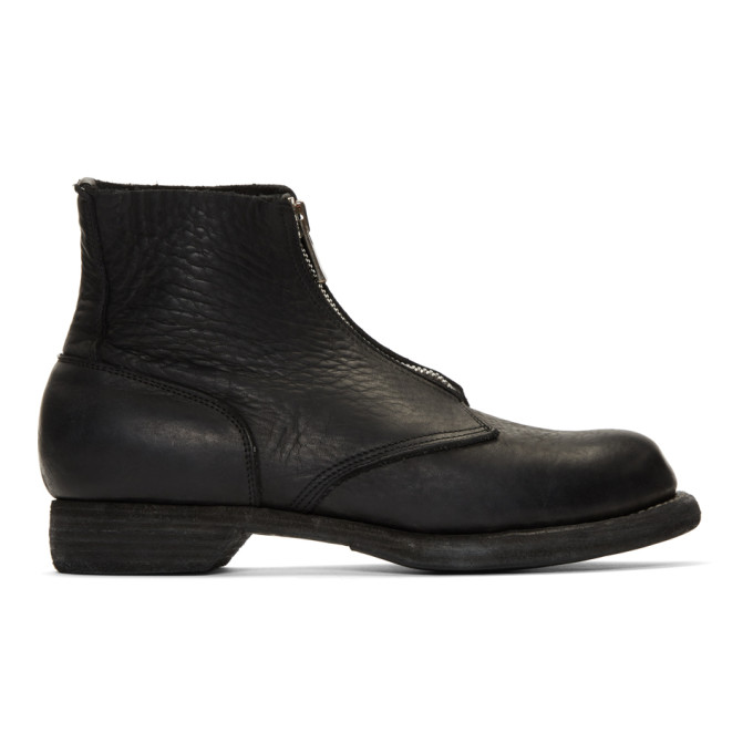 Image of Guidi Black Soldato Front-Zip Boots