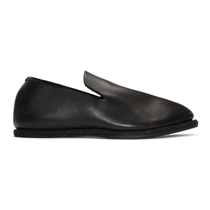 Image of Guidi Black Leather Slip-On Loafers