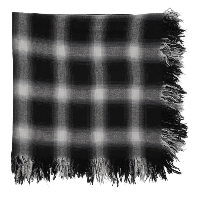 Image of Attachment Black & White Check Scarf