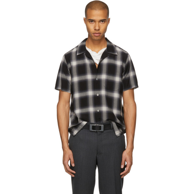 Image of Attachment Black & White Short Sleeve Check Shirt
