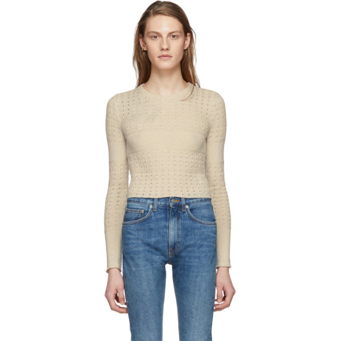 Image of Brock Collection Beige Cropped Kacey Pullover
