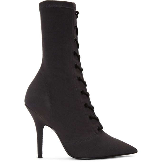 YEEZY Black Lace-Up Ankle Boots