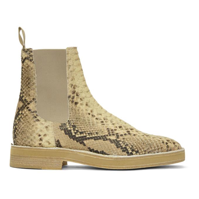 YEEZY Beige Faux-Python Chelsea Boots