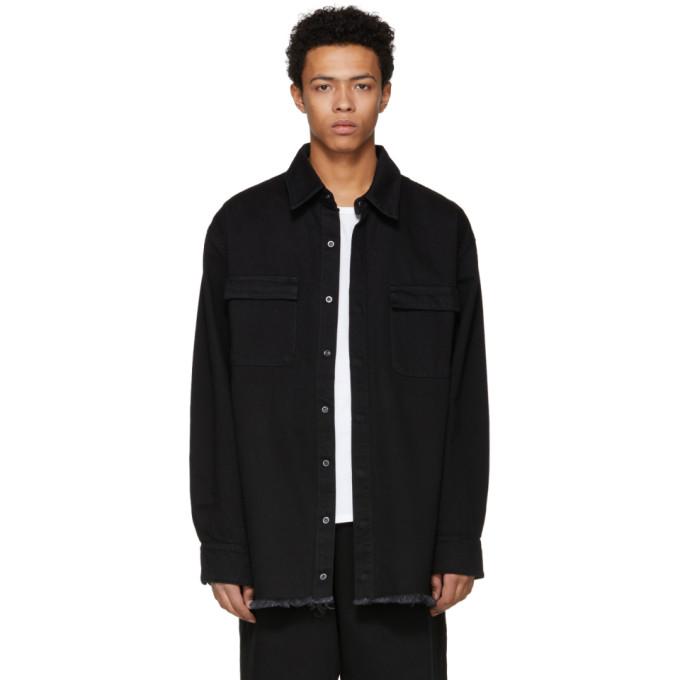 Marques Almeida SSENSE Exclusive Black Oversized Denim Shirt